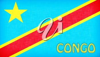 Flag of Congo stitched with letters, isolated