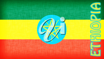 Flag of Ethiopia stitched with letters, isolated