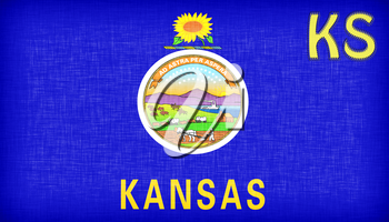 Linen flag of the US state of Kansas with it's abbreviation stitched on it
