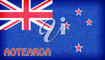 Linen flag of New Zealand with letters stitched on it
