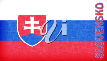 Linen flag of Slovakia with letters stitched on it