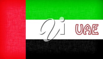 Flag of the UAE stitched with letters, isolated