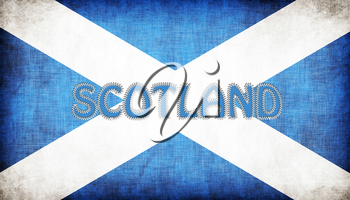 Flag of Scotland stitched with letters, isolated