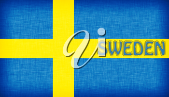 Flag of Sweden stitched with letters, isolated