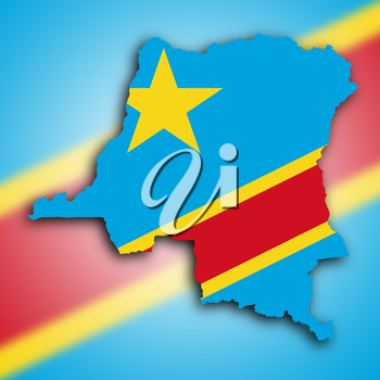 Map of Congo, filled with the national flag