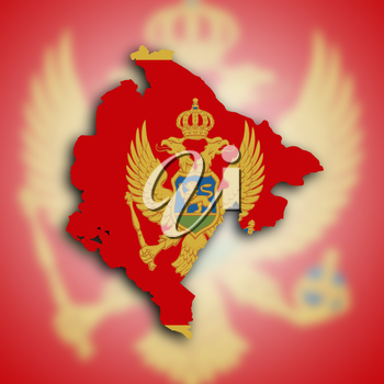 Map of Montenegro, filled with the national flag