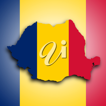 Map of Romania, filled with the national flag