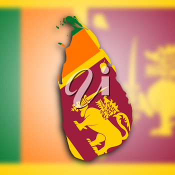 Map of Sri Lanka filled with the national flag