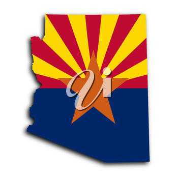 Map of Arizona, filled with the state flag