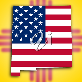 Map of New Mexico, filled with the national flag