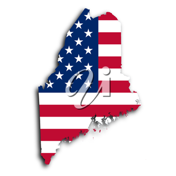 Map of Maine, filled with the national flag