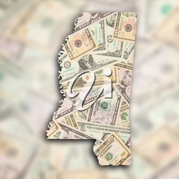 Map of Mississippi filled with US dollars