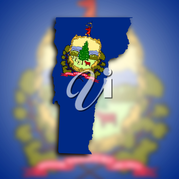 Map of Vermont filled with the state flag