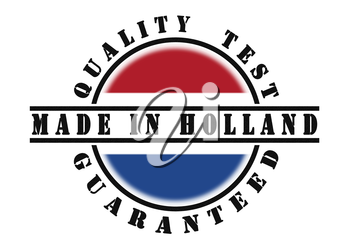 Quality test guaranteed stamp with a national flag inside, the Netherlands