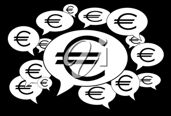Communication and business concept - Speech cloud, euro signs