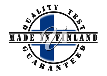 Quality test guaranteed stamp with a national flag inside, Finland