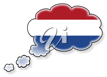 Flag in the cloud, isolated on white background, flag of the Netherlands