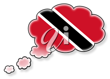 Flag in the cloud, isolated on white background, flag of Trinidad and Tobago