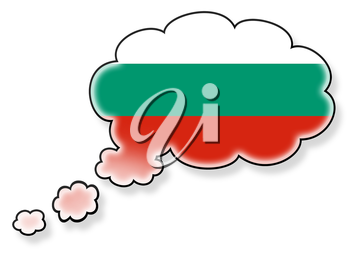 Flag in the cloud, isolated on white background, flag of Bulgaria
