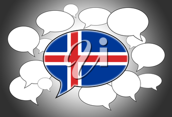 Communication concept - Speech cloud, the voice of Iceland
