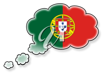 Flag in the cloud, isolated on white background, flag of Portugal