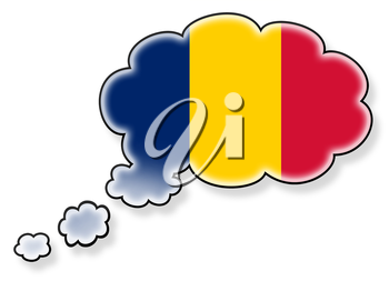 Flag in the cloud, isolated on white background, flag of Romania