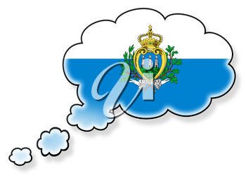 Flag in the cloud, isolated on white background, flag of San Marino
