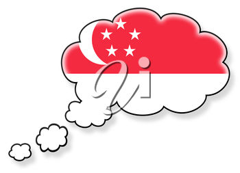 Flag in the cloud, isolated on white background, flag of Singapore