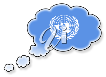 Flag in the cloud, isolated on white background, flag of the UN