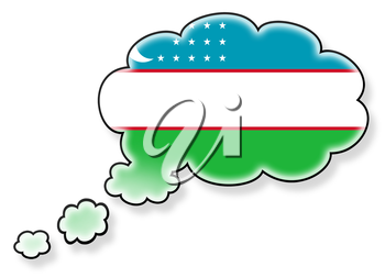 Flag in the cloud, isolated on white background, flag of Uzbekistan
