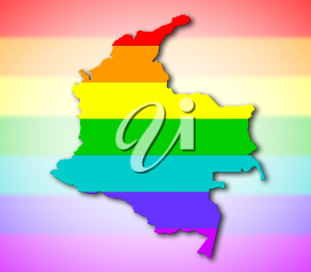 Colombia - Map, filled with a rainbow flag pattern