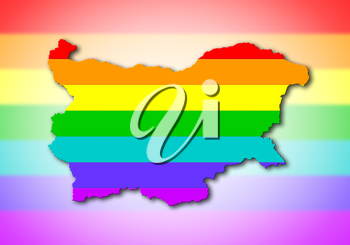 Bulgaria - Map, filled with a rainbow flag pattern
