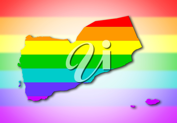 Yemen - Map, filled with a rainbow flag pattern