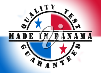 Quality test guaranteed stamp with a national flag inside, Panama