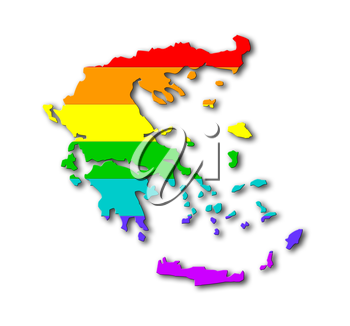 Map, filled with a rainbow flag pattern - Greece
