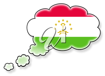 Flag in the cloud, isolated on white background, flag of Tajikistan