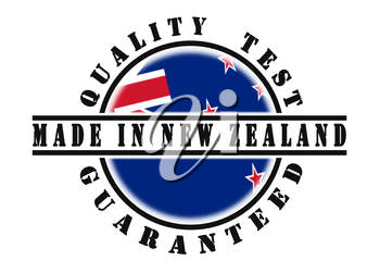 Quality test guaranteed stamp with a national flag inside, New Zealand