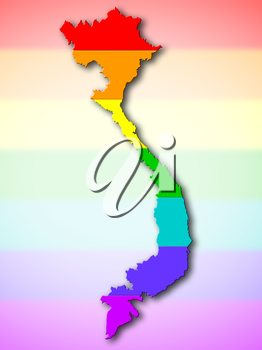 Map, filled with a rainbow flag pattern - Vietnam
