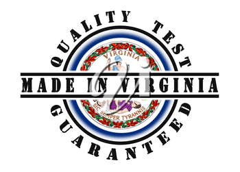 Quality test guaranteed stamp with a state flag inside, Virginia