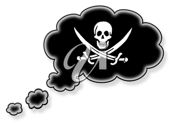 Flag in the cloud, isolated on white background, pirate flag