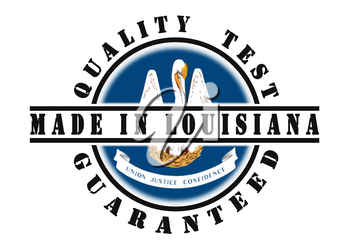 Quality test guaranteed stamp with a state flag inside, Louisiana