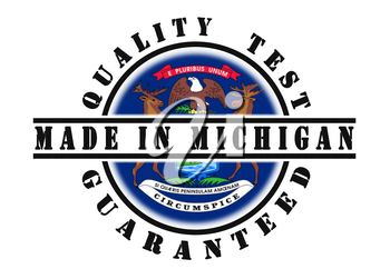 Quality test guaranteed stamp with a state flag inside, Michigan