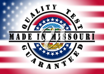 Quality test guaranteed stamp with a state flag inside, Missouri
