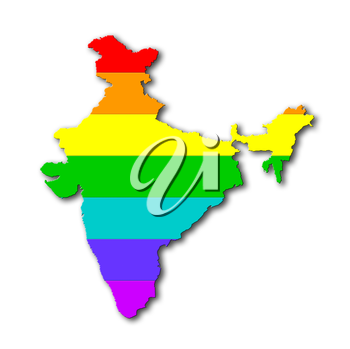 India - Map, filled with a rainbow flag pattern