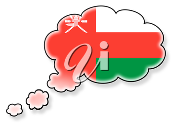 Flag in the cloud, isolated on white background, flag of Oman