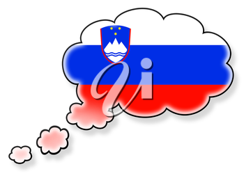 Flag in the cloud, isolated on white background, flag of Slovenia