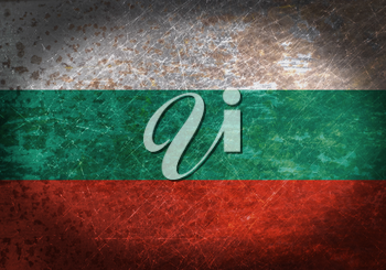 Old rusty metal sign with a flag - Bulgaria