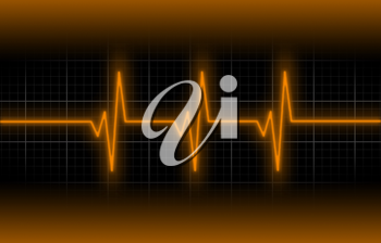 Electrocardiogram - Concept of healthcare, heartbeat shown on monitor - orange