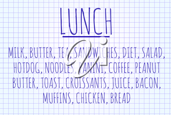 Lunch word cloud written on a piece of paper