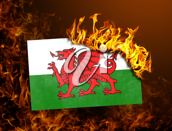 Flag burning - concept of war or crisis - Wales